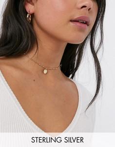 Ожерелье-чокер из позолоченного серебра с круглой подвеской Kingsley Ryan-Золотой
