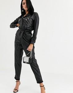 Комбинезон в стиле 80-х из искусственной кожи Blank NYC-Черный