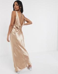 Платье макси со свободным воротом на спине и стразами ASOS DESIGN-Розовый