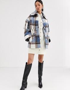 Пальто в клетку с бахромой из ткани с добавлением шерсти ASOS WHITE-Мульти
