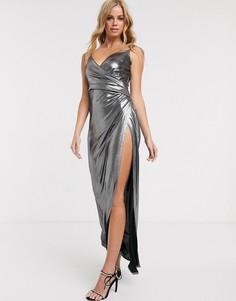 Серебристое платье макси с запахом Morgan-Серебряный