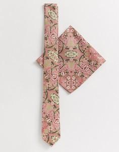 Розовый узкий галстук и платок для нагрудного кармана с цветочным принтом ASOS DESIGN