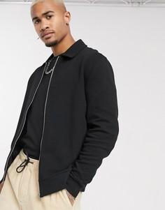 Черная трикотажная куртка Харрингтон в рубчик ASOS DESIGN-Черный