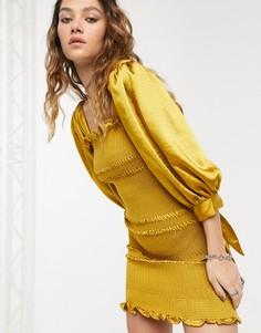 Атласное платье мини Capulet-Золотой