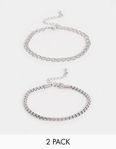 Набор из2 серебристых браслетов-цепочекDesignB-Серебряный