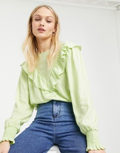 Зеленая блузка с цветочным принтом, оборками и высоким воротником Monki-Зеленый