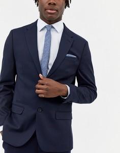 Узкий фактурный галстук и платок для пиджака ASOS DESIGN-Темно-синий