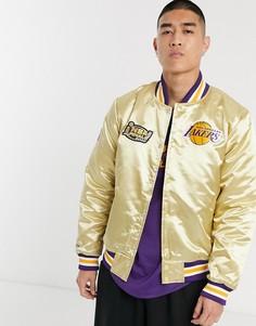 Золотистая атласная куртка Mitchell & Ness LA Lakers Championship Game-Золотой