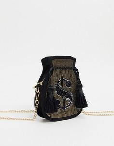 Золотистая сумка через плечо Skinnydip-Черный