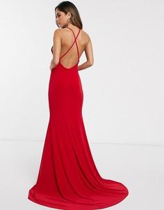 Платье макси с перекрестом на спине и годе Club L London-Красный