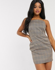 Платье мини в клетку на бретелях от комплекта In The Style x Fashion Influx-Мульти