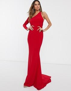 Платье макси на одно плечо с годе Club L London-Красный