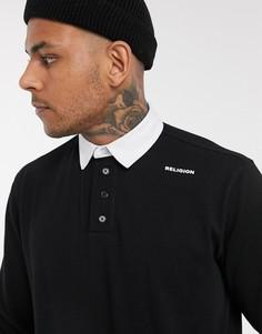 Черное поло с длинными рукавами и нашивкой на спине Religion-Черный