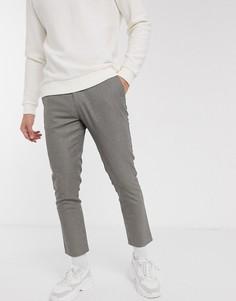 Серые строгие брюки в клетку Celio-Серый