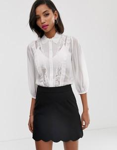Рубашка с кружевными вставками и пышными рукавами на манжетах French Connection - Amice-Белый