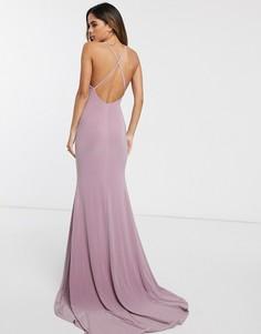 Платье макси с перекрестом на спине и годе Club L London-Розовый