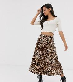 Юбка на пуговицах с леопардовым принтом Vero Moda Petite-Мульти