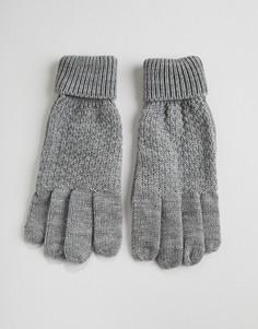 """Серые вязаные перчатки с узором \""""косичка\"""" Boardmans Finley-Серый"""