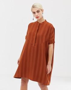 Оранжевое свободное платье мини в полоску Selected Femme-Оранжевый