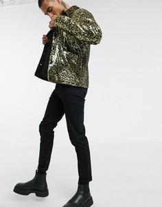 Куртка с леопардовым узором из пайеток ASOS DESIGN-Черный