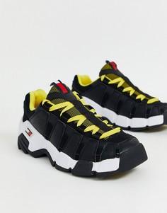 Черные кроссовки на массивной подошве с контрастными желтыми шнурками Tommy Jeans-Серый