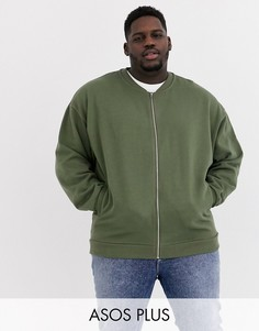 Трикотажный oversize-бомбер цвета хаки ASOS DESIGN Plus-Зеленый