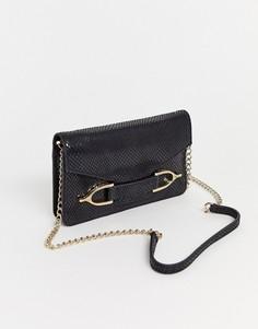 Черная кожаная сумка через плечо с золотистой фурнитурой и цепочкой Paul Costelloe-Черный