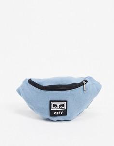 Джинсовая сумка-кошелек на пояс Obey-Синий