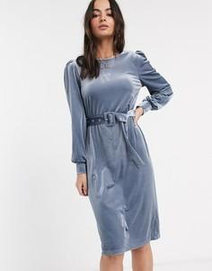 Платье миди в рубчик Vila-Синий