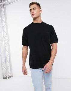 Черная трикотажная oversized-футболка River Island-Черный