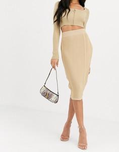 Бежевая трикотажная юбка со вставками 4th + Reckless-Кремовый