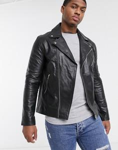 Байкерская куртка из натуральной кожи Le Breve-Черный