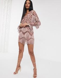 Эксклюзивное бежевое платье мини с бахромой и пайетками A Star Is Born-Коричневый