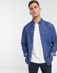 Джинсовая рубашка с длинными рукавами Selected Homme-Синий