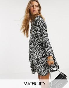 Платье мини с цветочным принтом Topshop Maternity-Черный