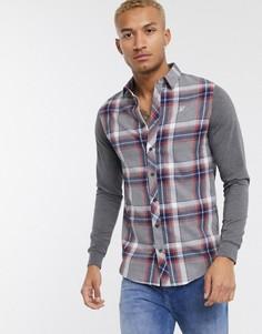 Серая рубашка в клетку с трикотажными рукавами SikSilk-Серый
