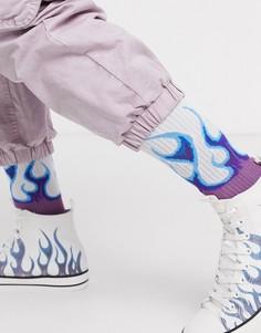 Спортивные носки от комплекта с принтом языков пламени ASOS DESIGN-Мульти