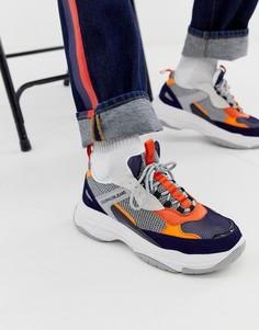 Синие кроссовки на массивной подошве Calvin Klein-Синий