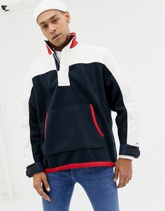 Сине-белая куртка из флиса и нейлона с логотипом на спине Tommy Hilfiger limited sailing-Темно-синий
