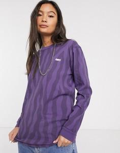 Лонгслив с тигровым принтом и логотипом Obey-Фиолетовый