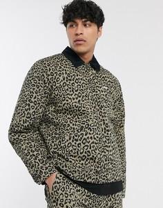 Куртка с подкладкой из овчины с леопардовым принтом Obey-Темно-синий