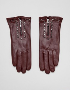 Кожаные перчатки с молнией и заклепками Barneys Originals-Красный