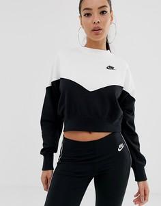 Черно-белый свитшот в стиле колор блок Nike-Черный