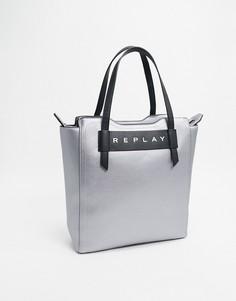 Кожаная сумка-шоппер с эффектом металлик и логотипом Replay-Серебряный