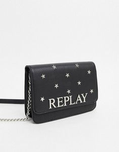 Сумка через плечо с отделкой заклепками в форме звезд и логотипом Replay-Черный
