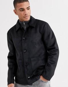 Черная куртка из искусственной замши ASOS DESIGN-Черный