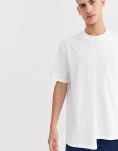 Белая длинная свободная футболка с асимметричным краем ASOS DESIGN-Белый