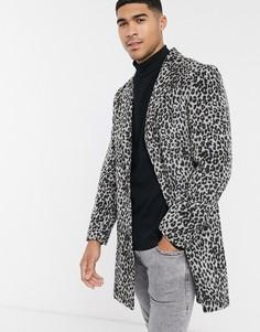 Пальто со звериным принтом Another Influence-Серый