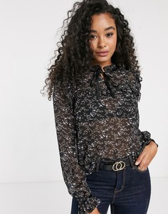 Черная шифоновая блузка с завязкой и цветочным принтом Pieces-Черный