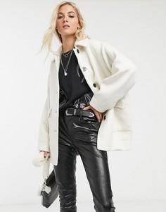 Кремовая саржевая куртка Topshop-Кремовый